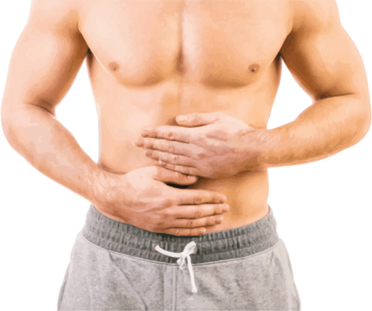 photo of man holding stomach in pain